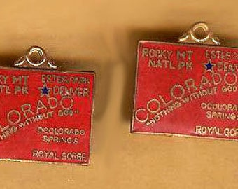 vintage charm COLORADO souvenir charms, enamel and brass, kitchy, TWO pieces antique vintage charms red enamel