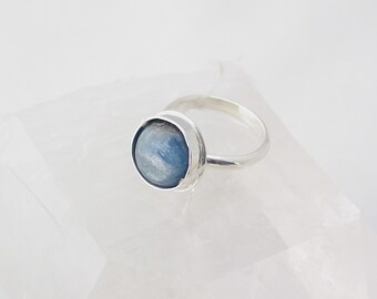 Kyanite Ring, Boho Jewelry, Natural Stone, Blue and Silver, Sterling Silver Ring, Custom Jewelry, Made to Order, Choose Your Size