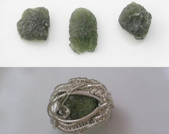 Raw Moldavite Ring Wire Wrapped Ring Moldavite Wire Wrap Ring Heady Wire Wrap Wire Wrapped Jewelry Custom Made to Order Choose Your Size