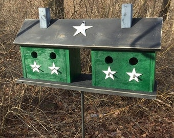 Large Four Hole Compartment Primitive Birdhouse Green Separate Compartments White Stars