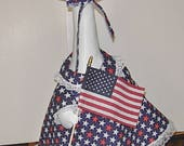 """Patriotic outfit navy with red and white stars outfit for 24-26"""" lawn, porch or garden goose or geese"""