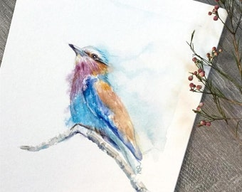 Lilac Breasted Roller Bird original watercolour painting
