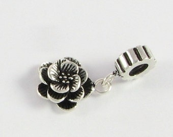 Sterling Silver Ring Bead with Rose  Flower Charm, Large Hole Bead, Rondelle Beads Bali Sterling Silver 4.5mm hole (1 piece)