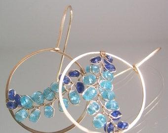 Blue Gemstone Hoops, Turquoise Apatite Circle Earrings, Ocean Blues, Cobalt Blue Kyanite Dangles, Wire Wrapped Vines, Modern Design