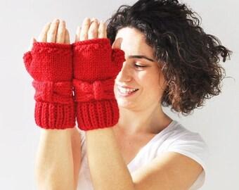 WINTER SALE Red Bow Fingerless Knitting Gloves -  Mittens -  by Afra