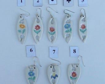 Handmade Porcelain Earrings, Hand Painted Tatting Shuttles, Choose Two