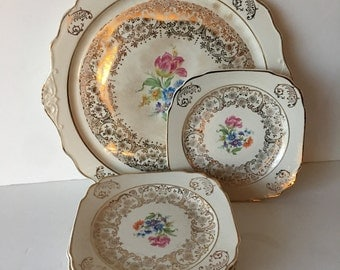 Harker Pottery Co. Cake Serving Plate and Six Dessert Plates with 22 KT Gold Trim Floral