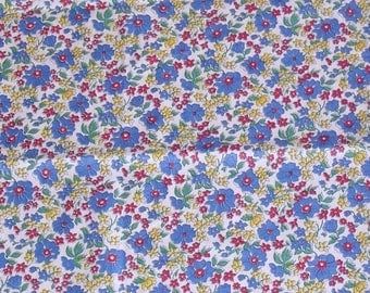 Vintage Red Blue Yellow Flower Fabric