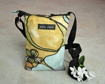 Small crossbody pouch, zippered satchel bag, beautiful floral hip bag, blue, brown, green, black shoulder purse, small handbag with pockets