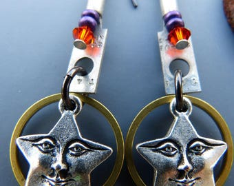 Star Face Charm Earrings with Mixed Metal Hardware