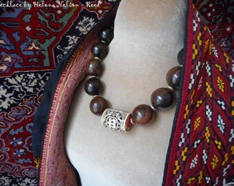Laurel necklace.  A natural statement, huge beautiful wood beads and carved bone