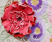 Leather Flower Brooch Pin Clip in Dark Coral by Stacy Leigh