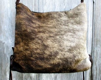 Brindle Cowhide Slouchy Cross Body Bag by Stacy Leigh