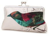 Bird clutch bag, teal, blue, cerise, feathers, teal turquoise silk, l'oiseau