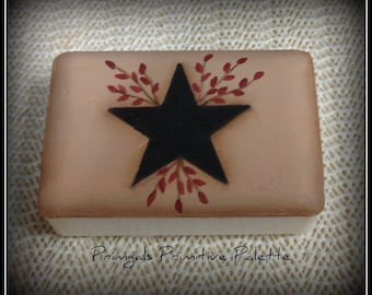 Primitive Black Star Pipberry Painted Soap Bar Home Decor Decoration