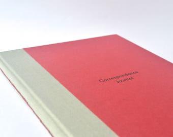 Burgundy Snail Mail Journal, Red Correspondence Journal, Handbound Snail Mail Journal, Grey & Burgundy Pen Pal Logbook