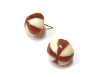 Tortoise Cream Studs | Candy Stripe Stud Earrings | Stripe Retro Button Studs | vintage lucite post earrings