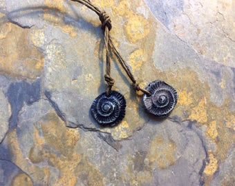 Fossil Snail Carved Bead.  Foxpaws, Artisan Handmade Ceramic Bead Pendent