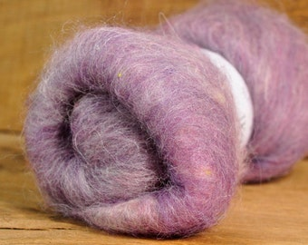 Carded Wool/Luxury Fibre Batt 50g - 'Old Lady Lavender;