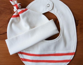 Baby Hat, Bib Gift Set; Red, White Stripe Newborn Baby Cap, Drool Bib Gift Set; Gender Neutral Handmade Teething Bib, Hat; Sailor Stripes