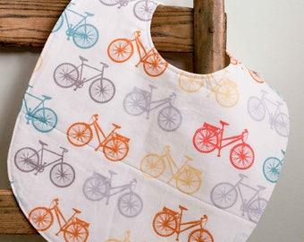 Bicycle Toddler Bib; Modern Bike Bib; Organic Cotton Highchair Bib; Layette Essentials; Handmade Toddler Bib Gift, Cycling Parents; Bike It
