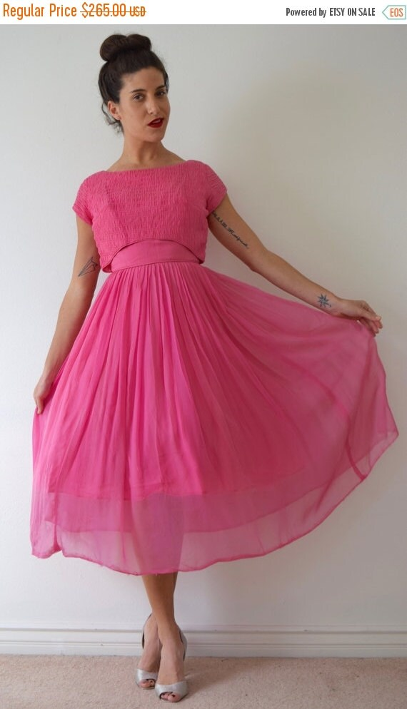 JANUARY SALE / 20% off Vintage 50s 60s Pink Chiffon New Look Party Dress (size small)