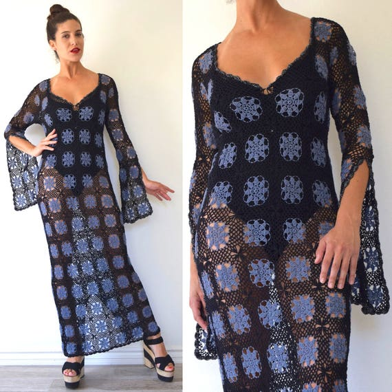 SPRING SALE / 30% off Vintage 70s Laurel Canyon Black and Purple Crocheted Maxi Dress