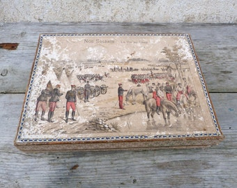 Antique 1890 French Victorian  Puzzle - Wood Blocks w/Chromolithograph Scenes puzzle /Antique game/toy/ war