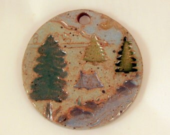 Custom Large Handmade Clay Pottery Pendant Charm or Ornament - Choose Shape and Color - TREES by the CREEK
