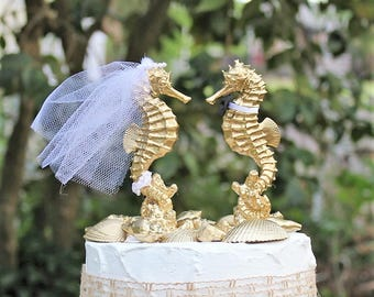 Seahorse Wedding Cake Topper, Beach Wedding Cake Topper, Destination Wedding, Gold Cake Topper, Bride and Groom, Unique Wedding Cake Topper