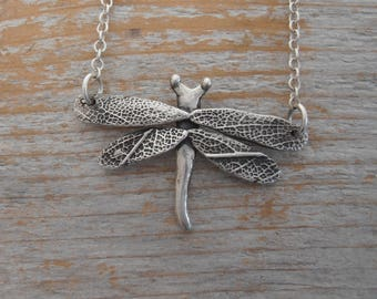 Sterling Silver Dragonfly Necklace with Leaf Detailed Wings