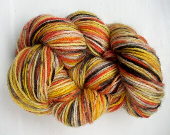 Sock yarn hand painted wool beige black yellow orange  tiger 100g