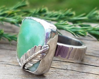 Chrysoprase Gemstone Cocktail Ring, OOAK Green Stone Turquoise Color Like Ring, Artisan Jewlery, One of a Kind Handmade