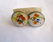 Vintage 1950s 50s White and Multicolor Cufflinks Abstract Art Cufflinks 50s Jewelry Men's Accessories Men's Jewelry 50s Men's Copper Jewelry