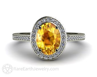 Yellow Sapphire Engagement Ring Oval Diamond Halo Sapphire Ring Custom Engagement Ring