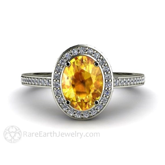 yellow sapphire engagement ring oval halo sapphire