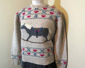 Hearts and Horse pullover Vintage Brown heather Sweater Rocking Horse 90s Eddie Bauer Tan Crew Neck sweater Red Hearts wool pullover M