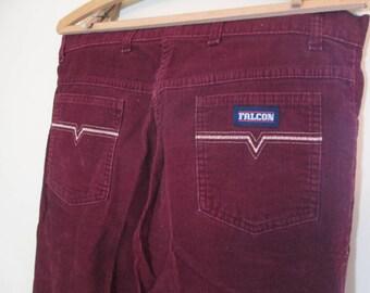 Vintage Berry Corduroy Pants High waist Straight legs 1970s 1980s pants Merlot corduroy jeans Merlot 80s Corduroy jeans 34 32