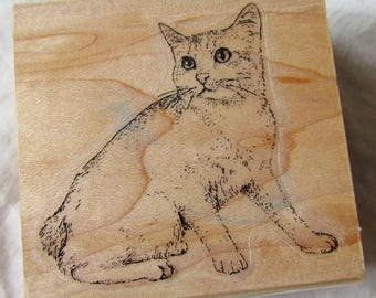 RuBBeR STaMP wood mounted -- CAT -- CaT LoVer - DeSTaSH - all occasion stamp, kitty, kitten, animal lover, made by Stamp Cabana