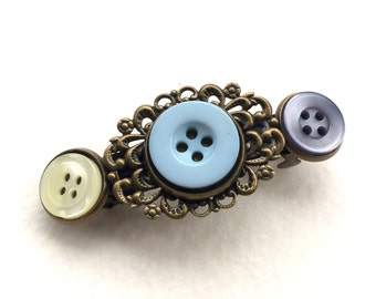 Vintage Button Barrette with blue and white
