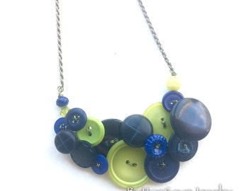 Midnight Blue and Lime Vintage Button Necklace