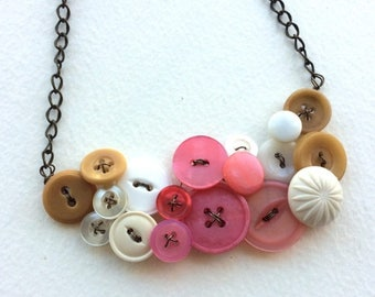Summer Sale Tan, White, and Coral Pink Large Vintage Button Statement Necklace