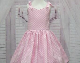 Pink Girl Dress, Pink Polka Dots Girl Dress, Corset Dress, Vintage Style Dress, Pink and White Dress, Ballerina Dress,  Pageant Girl Dress
