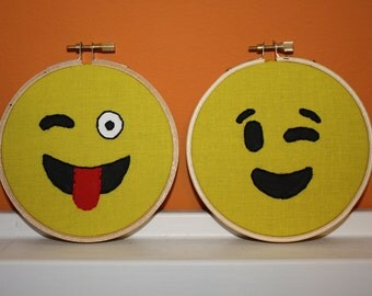 Emoji Embroidery - Happy Face - Set of Two