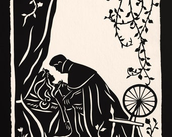 Sale 20% Off // SLEEPING BEAUTY Papercut - Hand-Cut Silhouette // Coupon Code SALE20