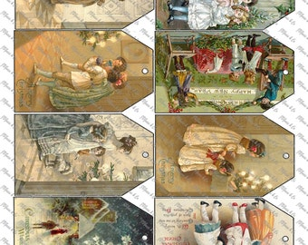 Victorian Vintage Christmas tags Instant Download