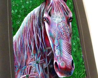 greeting card print of original art-  thoroughbred horse  Zentangle