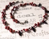 Garnet and Pearl Handmade Necklace,  Cranberry Red Pearl and Garnet Necklace, Garnet Boho Fashion Choker