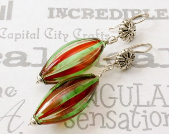 Festive Sterling Silver Earrings, Christmas Murano Glass Drop Earrings, Red and Green Glass Silver Earrings, Murano Blown Glass Earrings