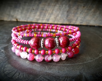 Memory Wire Bracelet, Agate, Gemstone, Glass, Pink, Organic, Rustic, Artisan Made, Beaded Bangle Bracelet
